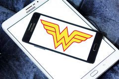 Wonder Woman logo. Logo of Wonder Woman on samsung mobile. Wonder Woman is a fictional superhero appearing in American comic books published by DC Comics royalty free stock photography