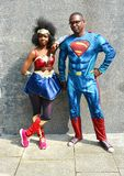 Wonder Woman and Superman cosplay. Married couple Cosplay portraying Superman and Wonder Woman at the MCM Comic Con event in London 2018 royalty free stock photography