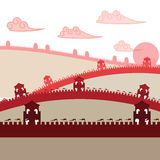 7 Wonder of the world Great Wall. Vector royalty free illustration