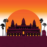 7 Wonder of the world Angkor Temple. Vector royalty free illustration