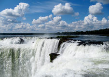 Wonder of the world falls  Iguasu. Most beautiful and big falls Iguasu in Argentina,Throat of a devil, South America Royalty Free Stock Photography