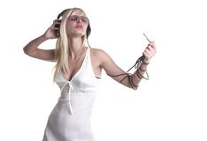 Wonderful. Pretty girl is listening and enjoing royalty free stock image