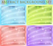 Wonderful abstract background set of 4 pieces. In blue, green, red and purple colors stock illustration