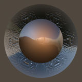 Wonderful abstract illustrated glass object. On brown background Royalty Free Stock Photography