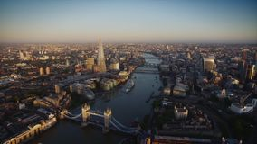 Wonderful aerial drone flight over modern architecture of London downtown on river Thames