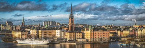 Free Wonderful Aerial Panorama From Height Of Birds Flight On Observation Deck On Tower City Hall To Gamla Stan, Stockholm, Sweden Stock Image - 143246921