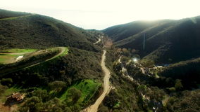 Wonderful aerial shooting of Malibu forests and roads. Beautiful aerial copter shooting of Malibu forests and roads stock video