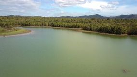 Green Lake with Deep Forest on Banks Aerial View. Wonderful aerial view large tranquil green lake with deep forest on banks against blue sky with white clouds stock video