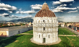 Wonderful aerial view of Miracles Square in Pisa, Tuscany Stock Photos