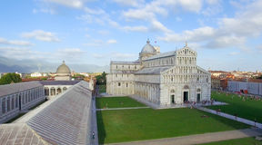 Wonderful aerial view of Miracles Square in Pisa, Tuscany Royalty Free Stock Image