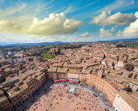Wonderful aerial view of Piazza del Campo, Siena on a beautiful Stock Images