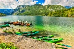 Wonderful alpine landscape and colorful boats,Lake Bohinj,Slovenia,Europe Royalty Free Stock Image