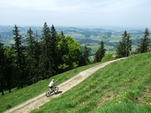 Wonderful alpine mountain biking trails in Switzerland royalty free stock photo
