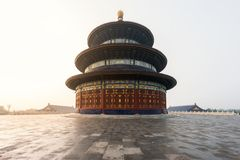 Wonderful and amazing Beijing temple - Temple of Heaven in Beijing, China. Hall of Prayer for Good Harvest stock photos