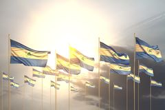 Wonderful any feast flag 3d illustration - many Nicaragua flags in a row on sunset with empty place for content. Cute many Nicaragua flags in a row on sunset royalty free illustration