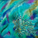 Wonderful art of a lionfish. Royalty Free Stock Images