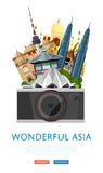 Wonderful asia poster with famous attractions. vector illustration