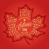 Wonderful Autumn season. Autumn 3D engraving maple leaf with golden leaves leaf fall inside and label design. Vector eps 10 Royalty Free Stock Image
