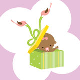Wonderful Baby in a Gift Box. Illustration of a baby in a gift box with two birds holding ribbon Royalty Free Stock Image