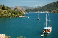 Wonderful bay. Bay with several boats in turkey Stock Images