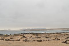 Wonderful Bay Full Of Volcanic Stones In Bajo Ballena. July 8, 2013. El Cotillo La Oliva Fuerteventura Canary Islands. Nature Vacation royalty free stock photography