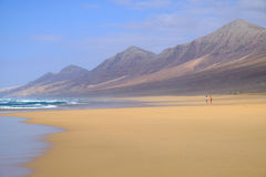 Wonderful beach Cofete on the Canary Island FUerteventura with a Royalty Free Stock Photo