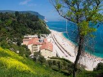 The wonderful beach of Numana, mount Conero, Italy. Stock Photo
