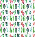 Wonderful beautiful bright mexican tropical hawaii floral herbal summer green pattern colorful cactus with flowers vertical patter. N paint like child watercolor vector illustration