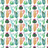 Wonderful beautiful bright mexican tropical hawaii floral pattern colorful cactus with flowers vertical pattern paint like child w Stock Image