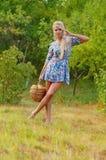 Wonderful blond women. Wonderful blond woman with fruits Stock Photography