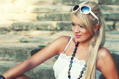 Wonderful blond women. Wonderful blond woman in nature Royalty Free Stock Photo