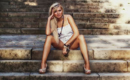 Wonderful blond women. Wonderful blond woman in nature Stock Photos