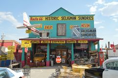 Beautiful Souvenir Shop In Seligman. Wonderful Blue Beautiful Stock Images