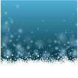 Wonderful blue Christmas ice flower bakcground with stars. Colorful blue Christmas vector landscape with snowfall stars and ice flowers Stock Photo
