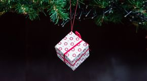 Wonderful boxed Christmas present with a ribbon.  stock image