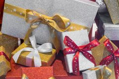 Wonderful boxed Christmas presents with a ribbon.  Royalty Free Stock Photography
