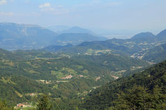 Wonderful breathtaking views of the valley and the mountains to. Breathtaking views of the valley and the mountains to the city of Vicenza in northern Italy Royalty Free Stock Photography
