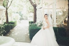 Wonderful bride with a luxurious white dress and bouquet royalty free stock photography