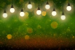 Wonderful bright abstract background glitter lights with light bulbs and falling snow flakes fly defocused bokeh - festal mockup. Texture with blank space for vector illustration