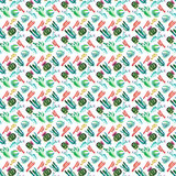 Wonderful bright beautiful mexican tropical floral summer green pattern of a colorful cactus with flowers vertical diagonal patter Stock Image