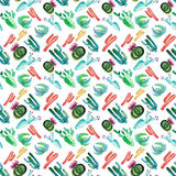 Wonderful bright beautiful mexican tropical floral summer green pattern of a colorful cactus with flowers vertical diagonal patter. N paint like a child vector illustration