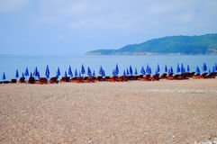 Wonderful chaise-longue on the beach. Summer in Montenegro stock photography