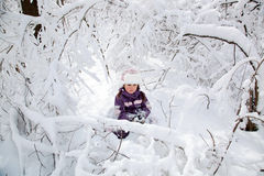Wonderful child in the snowy woods Royalty Free Stock Photo