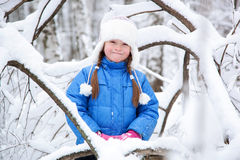 Wonderful child in the snowy woods Royalty Free Stock Photography
