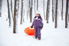 Wonderful child in the snowy woods Royalty Free Stock Images