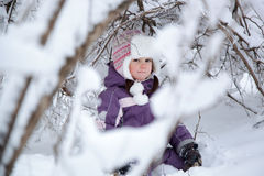 Wonderful child in the snowy woods Stock Photography