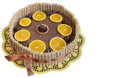 Organic choco orange cake. A wonderful Chocolate orange cake made with organic ingredients, selective focus,  against white Stock Images