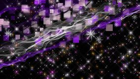 Wonderful christmas animation with moving waves and snowflakes plus stars, 4096x2304 loop 4K stock footage
