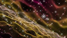 Wonderful christmas animation with moving waves and snowflakes plus stars, 4096x2304 loop 4K stock video footage