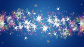 Wonderful christmas animation with stars and snowflakes, loop HD 1080p Royalty Free Stock Photography